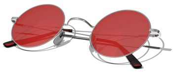 Silver sunglasses with red lenses isolated on a white background